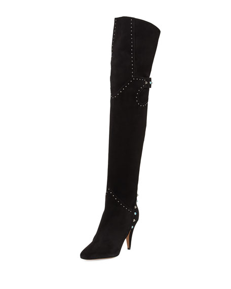 christian louboutin napaleona spiked-toe red sole knee boot