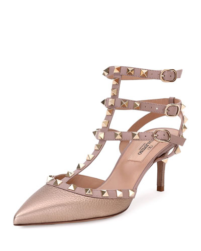 Rockstud Leather 65mm Pump, Sasso/Poudre