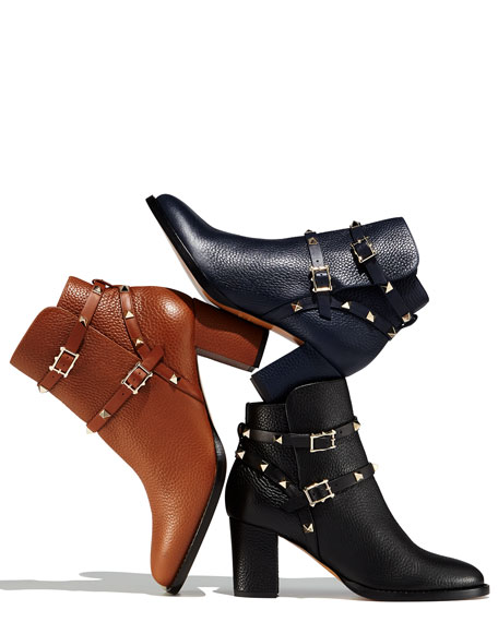 3afe1dae5bdb Valentino Rockstud Leather 70mm Ankle Bootie