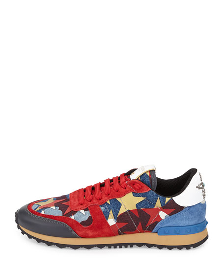 94433b11f8ab7 Valentino Garavani Rockrunner Star-Studded Leather Sneaker, Multi