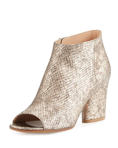 Shimmer Snake-Embossed Peep-Toe Bootie, Champagne