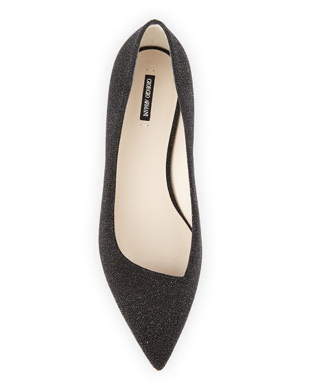 Glittered Suede Point-Toe Flat, Black (Nero)
