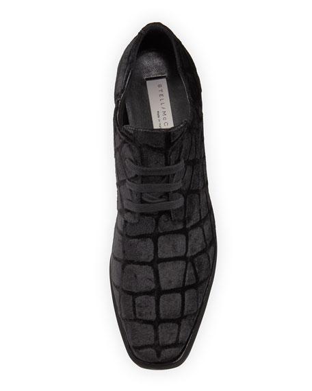Elyse Croc-Print Velvet Oxford, Black