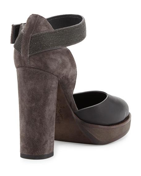 Monili Mary Jane Block-Heel Pump, Black/Multi