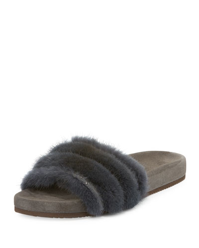 Monili & Mink Fur One-Band Sandal, Navy