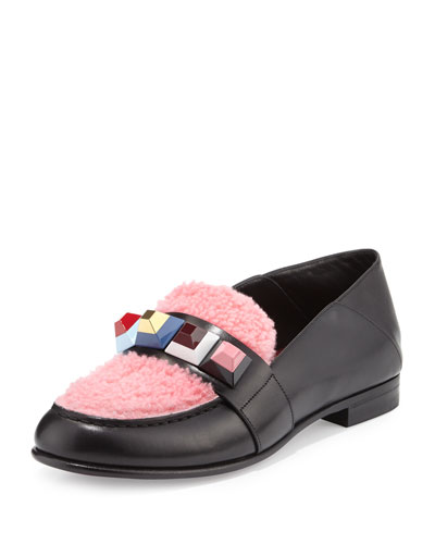 Rainbow-Studded Shearling & Leather Loafer, Black/Multi