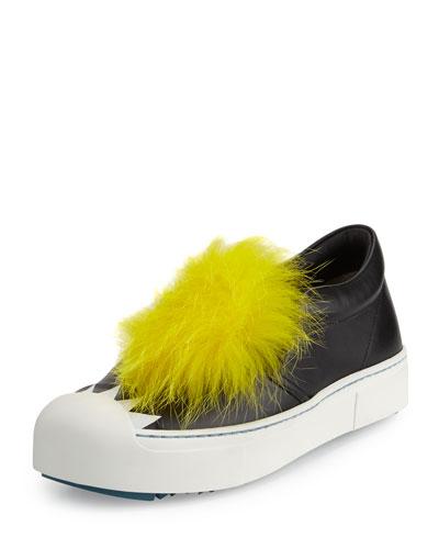 Bug Fur-Trimmed Skate Sneaker, Black