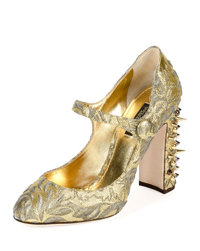 Jacquard-Print Leather Mary Jane Pump, Gold