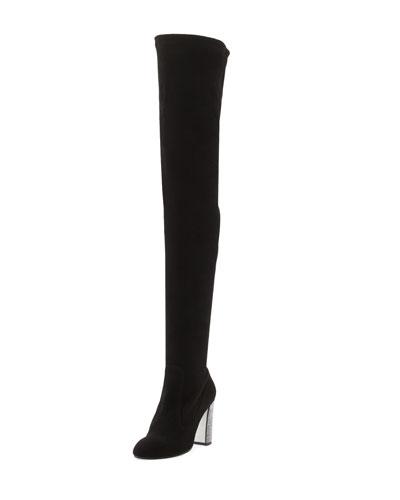 Suede Over-the-Knee Crystal-Heel Boot, Black/Jet