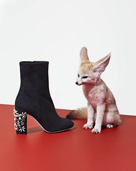 Suede Jewel-Heel 90mm Ankle Boot, Black