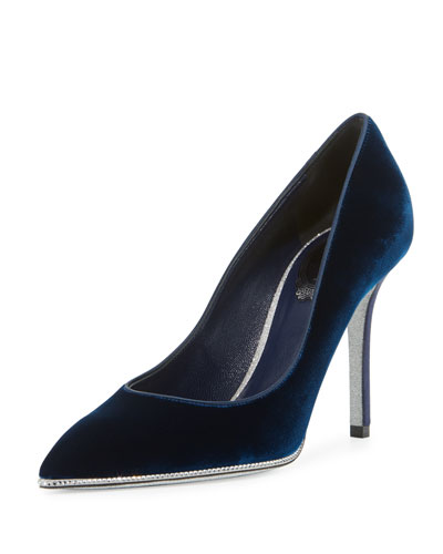 Velvet Crystal-Trimmed 95mm Pump, Navy Blue