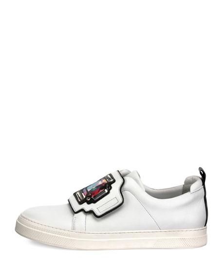 Gem Slider Leather Sneaker, White