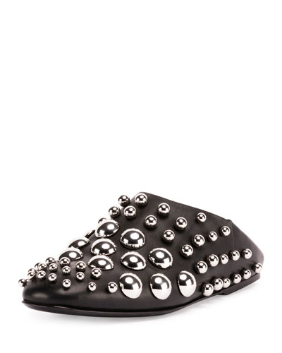 Edie Convertible Studded Leather Slipper, Black