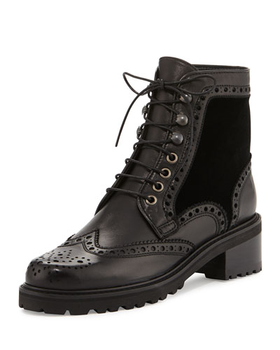 Brogen Leather & Velvet Hiker Boot, Black