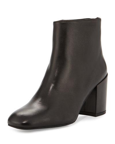 Bacari Leather Chunky-Heel Bootie, Black