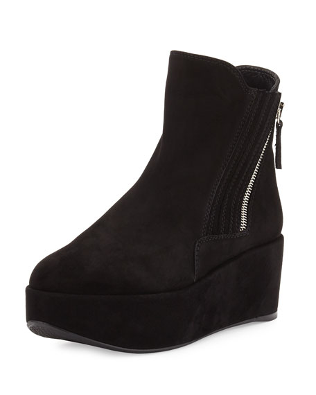 Gorbach Suede Platform Ankle Boot, Black