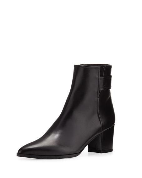 Banjosvelt Leather Ankle Boot, Black