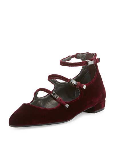 Flippy Velvet Mary Jane Flat, Bordo