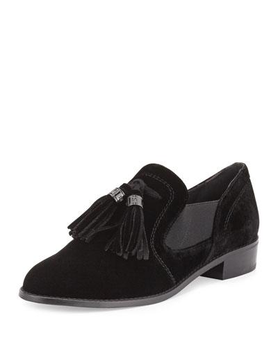 Ohboy Velvet Tassel Loafer, Black