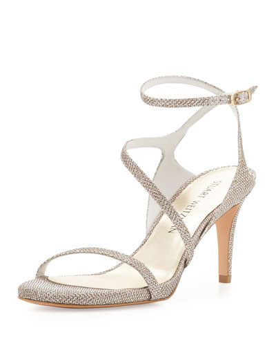 Sultrymid Glitter Fabric Evening Sandal, Platinum