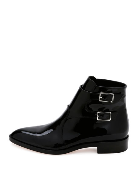 Flat Patent Leather Ankle Boot, Black