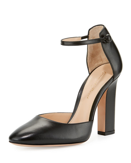 Mary Jane Block-Heel d'Orsay Pump, Black