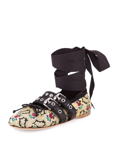 Floral-Print Leather Ankle-Wrap Ballerina Flat, Black/Multi