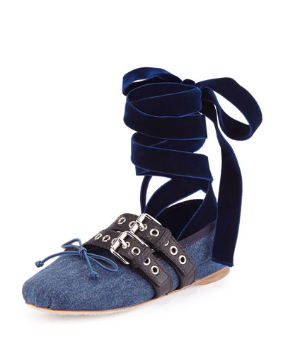 Denim Ankle-Wrap Ballerina Flat, Blue/Black