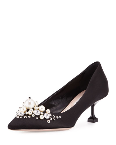 Pearly-Embellished Satin Low-Heel Pump, Black (Nero)