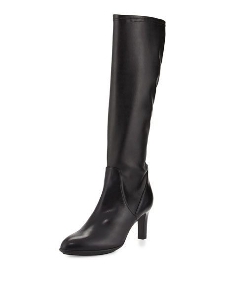 Aquatalia Diane Stretch-Leather Knee Boot, Black