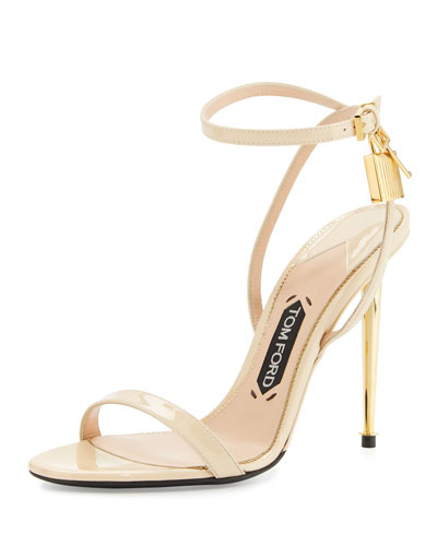 Patent Leather Ankle Lock Sandal, Nude