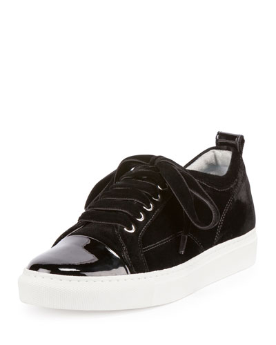 Velvet Cap-Toe Low-Top Sneaker, Black