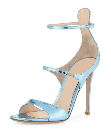 Juliet Strappy Metallic Sandal, Baby Blue