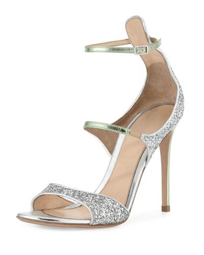 Juliet Strappy Glittered Sandal, Silver/Green