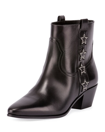 Rock Star Studded Western Bootie, Black