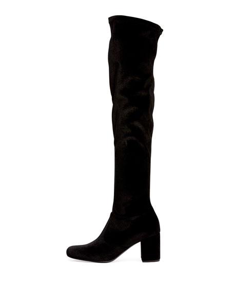 Velvet Over-the-Knee Block-Heel Boot, Black (Nero)