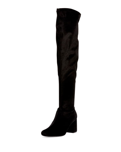 Velvet Over-the-Knee Block-Heel Boot, Black (Nero)