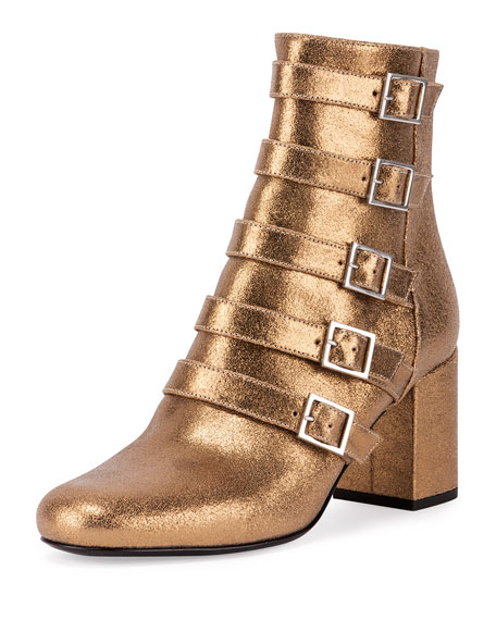 34ce216e9799 Saint Laurent Babies Belted Metallic Leather Boot