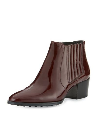 Patent Leather Pull-On Boot, Burgundy