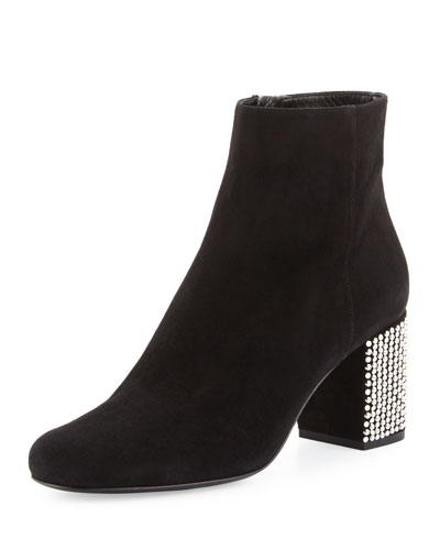 Babies Suede 90mm Ankle Boot w/Embellished Heel, Black