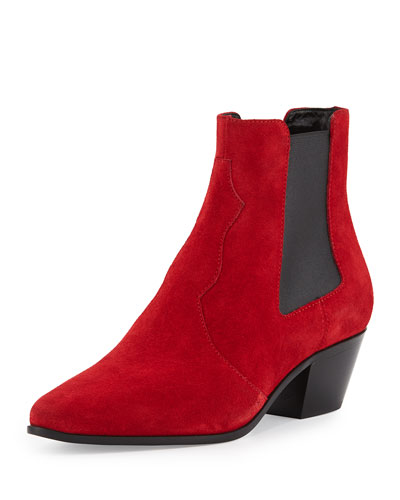 Suede Rock Star Chelsea Boot, Red