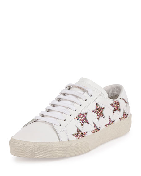 Glitter Star Leather Low-Top Sneaker, Off White/Multi