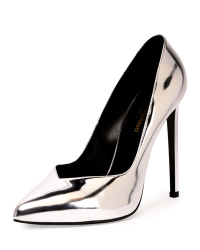Paris Metallic Faux-Leather Pump, Argento