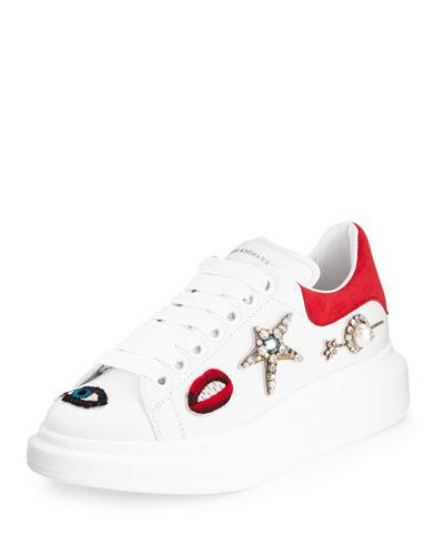 Jeweled Leather Platform Sneaker, Multicolor