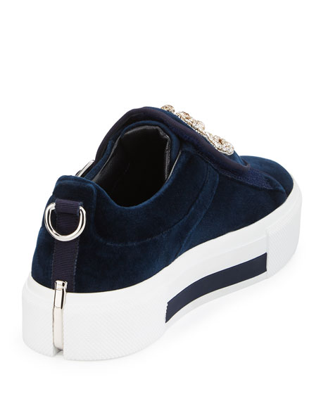 Triple-Monk Velvet Sneaker w/Jeweled Moon & Star Navy/Silver