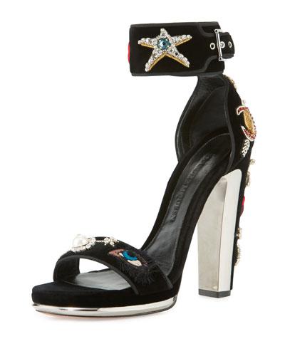 Applique-Embellished Velvet Sandal, Black