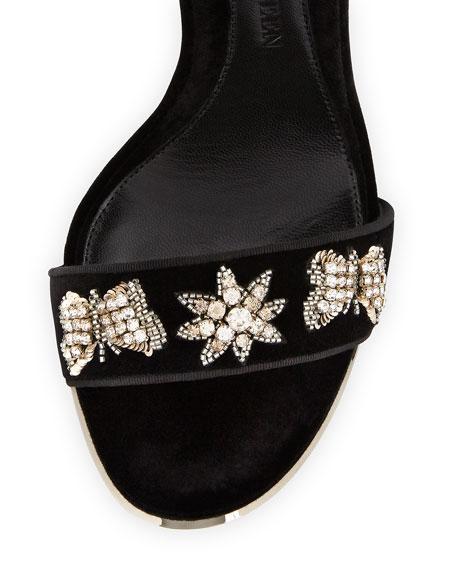 Embellished Velvet Ankle-Cuff Sandal, Black