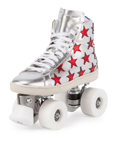 Court Classic Roller Skate Sneaker, Silver/Red