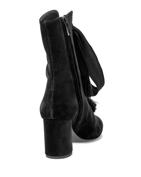 Harper Velvet Lace-Up Boot, Black
