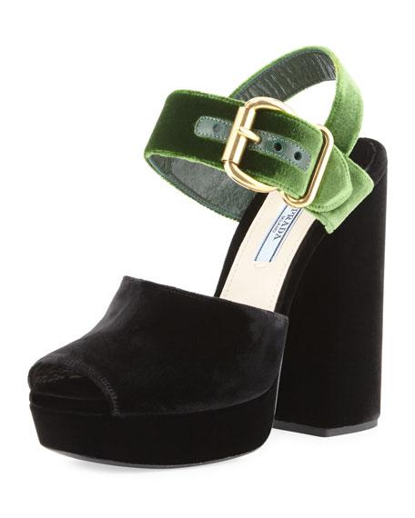 cd99d61c5c11 Prada Bicolor Velvet 130mm Platform Sandal